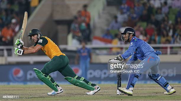 Faff Du Plessis captain of South Africa batting India v South Africa semi final match at ShereBangla Mirpur Stadium during the ICC World Twenty20...