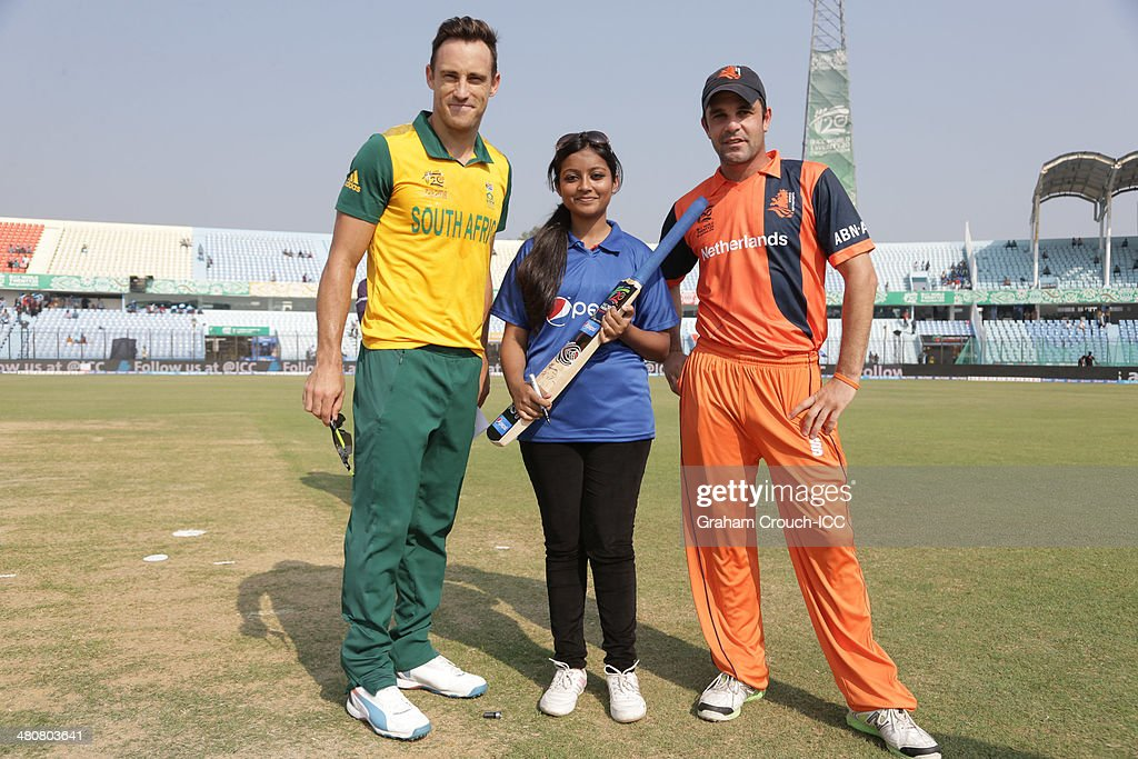 Faff Du Plessis captain of South Africa with Pepsi mascot Shawana and Peter Borren captain of The Netherlands ahead of the South Africa v Netherlands...