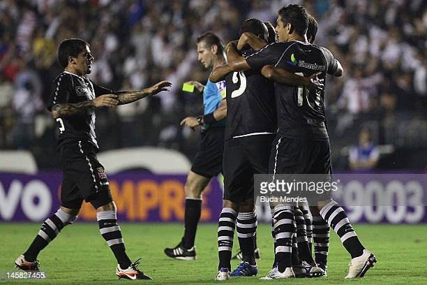Fagner Alecsandro Diego Souza Eder Luis and Juninho of Vasco celebrate a scored goal aganist Nautico during a match as part of Serie A 2012 at Sao...