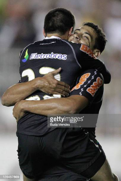 Fagner and Diego Souza of Vasco celebrate a scored goal againist Gremio during a match as part of Serie A 2011 at Sao Januario stadium on September...