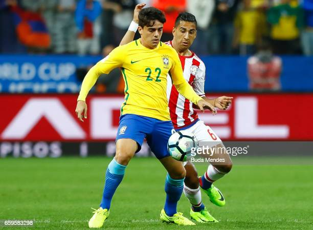 Fagner of Brazil struggles for the ball with Cecilio Dominguez of Paraguay during a match between Brazil and Paraguay as part of 2018 FIFA World Cup...