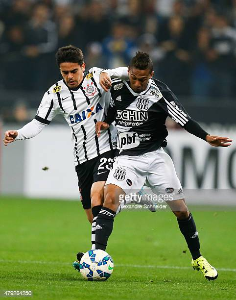Fagner of Corinthians and Rodinei of Ponte Preta in action during the match between Corinthians and Ponte Preta for the Brazilian Series A 2015 at...