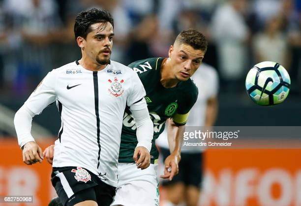 Fagner of Corinthians and Wellington Paulista of Chapecoense in action during the match between Corinthians and Chapecoense for the Brasileirao...