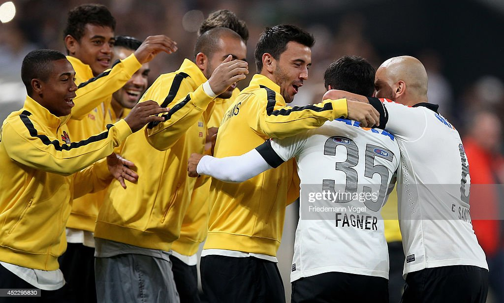 <a gi-track='captionPersonalityLinkClicked' href=/galleries/search?phrase=Fagner&family=editorial&specificpeople=6872878 ng-click='$event.stopPropagation()'>Fagner</a> (35) of Corinthians celebrates scoring the second goal during the match between Corinthians and Internacional for the Brazilian Series A 2014 at Arena Corinthians on July 17, 2014 in Sao Paulo, Brazil.