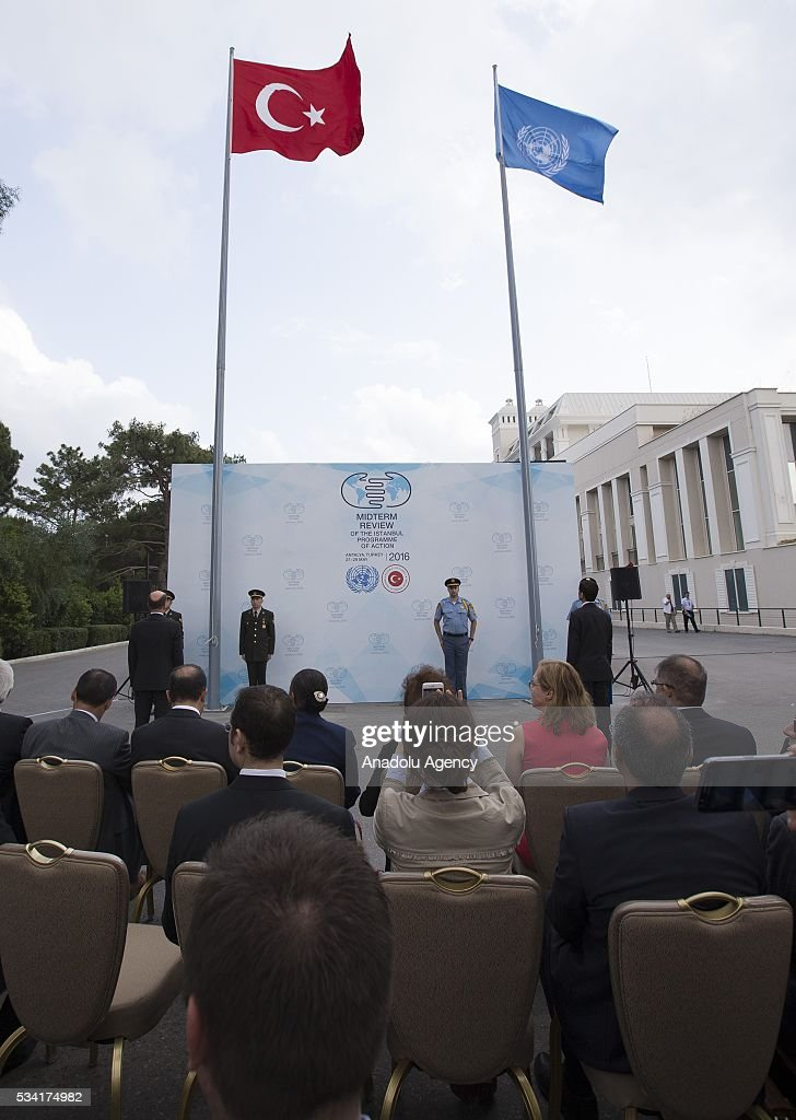 Fags of the United Nations and Turkey wave outside the Titanic Hotel where Midterm Review of the Istanbul Programme of Action, during the flag raising ceremony for the flin Antalya, Turkey on May 25, 2016. The Midterm Review conference for the Istanbul Programme of Action for the Least Developed Countries will take place in Turkey's Antalya from 27-29 May 2016.