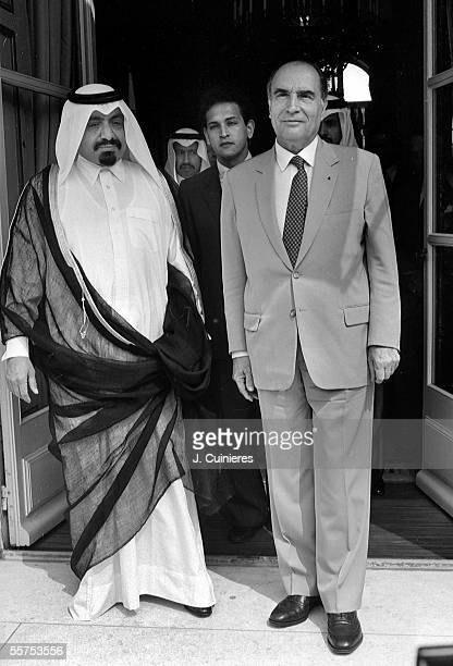 Fahd Ibn Abd AlAziz king of Saudi Arabia received in Elysee by Francois Mitterrand preside of the French Republic Paris on 1981 JAC25932