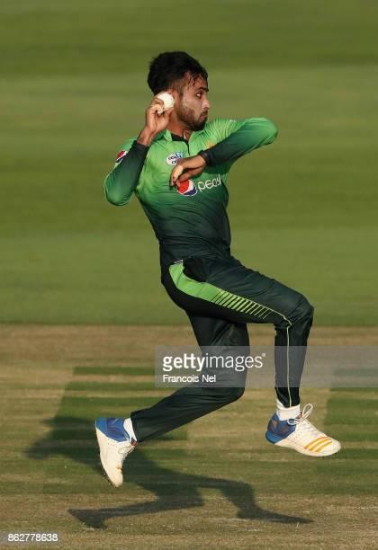 Faheem Ashraf of Pakistan bowls during the third One Day International match between Pakistan and Sri Lanka at Zayed Cricket Stadium on October 18...
