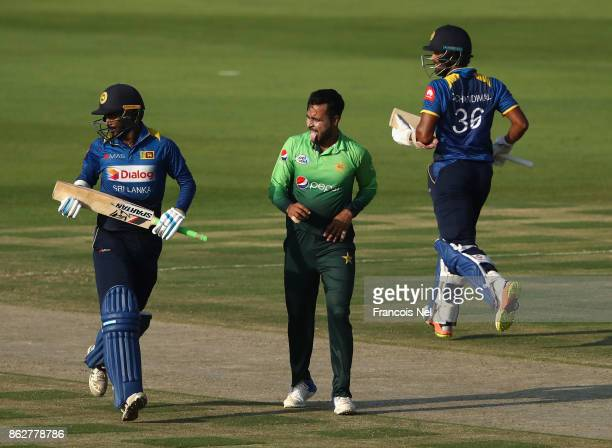 Faheem Ashraf of Pakistan looks on during the third One Day International match between Pakistan and Sri Lanka at Zayed Cricket Stadium on October 18...