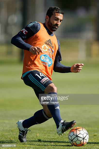 Fahid Ben Khalfallah kicks the ball of the Victoryduring a Melbourne Victory ALeague training session at Gosch's Paddock on December 11 2015 in...
