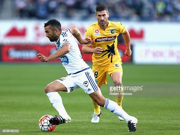 Fahid Ben Khalfallah of Melbourne controls the ball during the round 14 ALeague match between the Central Coast Mariners and the Melbourne Victory at...
