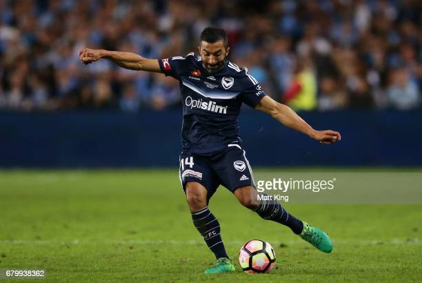 Fahid Ben Khalfallah of Melbourne Victory controls the ball during the 2017 ALeague Grand Final match between Sydney FC and the Melbourne Victory at...
