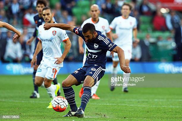 Fahid Ben Khalfallah of Melbourne Victory scores a goal during the round 15 ALeague match Melbourne Victory and Brisbane Roar at AAMI Park on January...