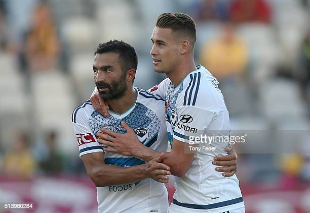 Fahid Ben Khalfallah of the Victory celebrates a goal with team mate Jai Ingham during the round 22 ALeague match between the Central Coast Mariners...