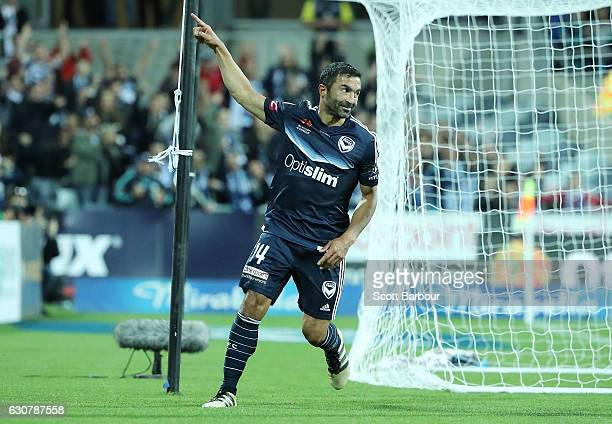 Fahid Ben Khalfallah of the Victory celebrates after scoring a goal during the round 13 ALeague match between Melbourne Victory and Newcastle Jets at...