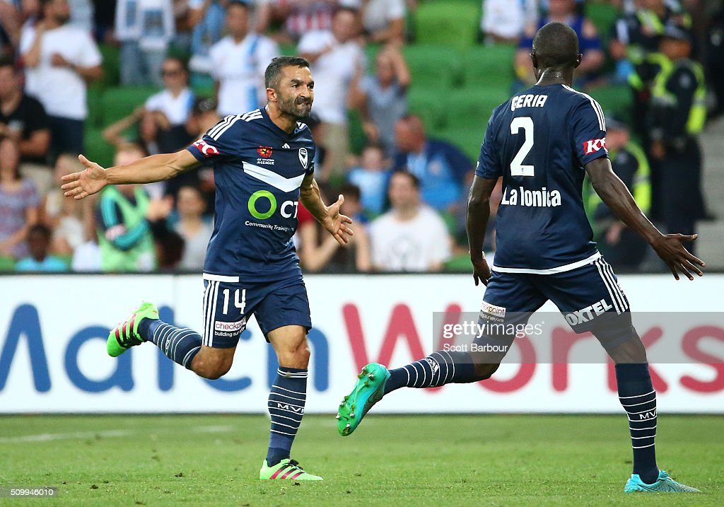 Fahid Ben Khalfallah of the Victory celebrates after scoring his sides first goal during the round 19 A-League match between Melbourne City FC and Melbourne Victory at AAMI Park on February 13, 2016 in Melbourne, Australia.