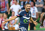 Fahid Ben Khalfallah of the Victory celebrates after scoring his sides first goal during the round 19 ALeague match between Melbourne City FC and...