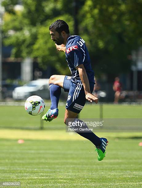 Fahid Ben Khalfallah of the Victory controls the ball during a Melbourne Victory ALeague training session at Gosch's Paddock on November 19 2014 in...