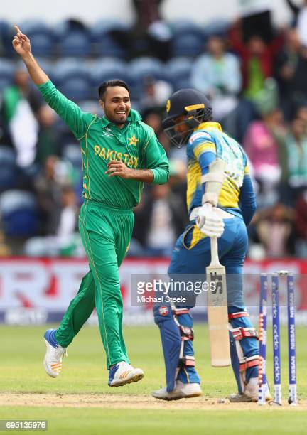 Fahim Ashraf of Pakistan celebrates bowling Dinesh Chandimal of Sri Lanka during the ICC Champions Trophy match between Sri Lanka and Pakistan at the...