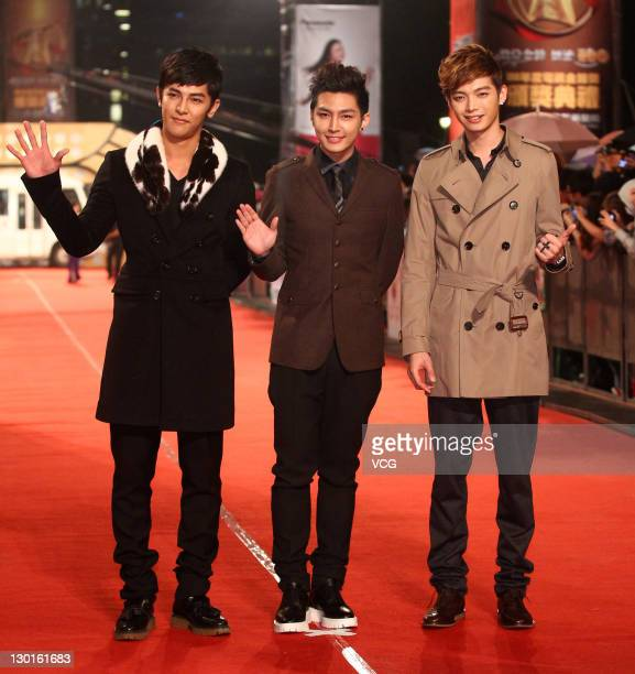Fahrenheit walk on the red carpet of the 46th Annual Golden Bell Awards at Sun Yatsen Memorial Hall on October 21 2011 in Taipei Taiwan