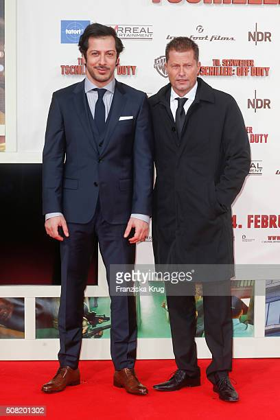 Fahri Yardim and Til Schweiger attend the 'Tschiller Off Duty' German Premiere on February 3 in Berlin Germany