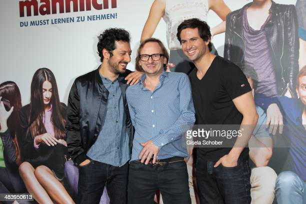 Fahri Yardim Milan Peschel Tom Beck attend the premiere of the film 'Irre sind maennlich' at Mathaeser Filmpalast on April 10 2014 in Munich Germany