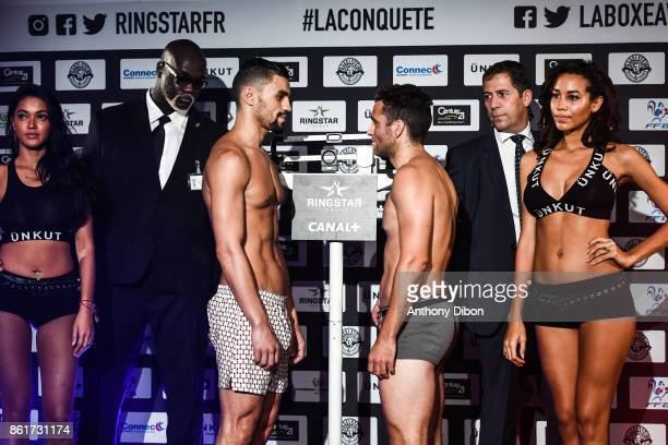 Fahrrad Saad and Guillaule Radics during press conference ahead of the fight on October 13 2017 in Paris France