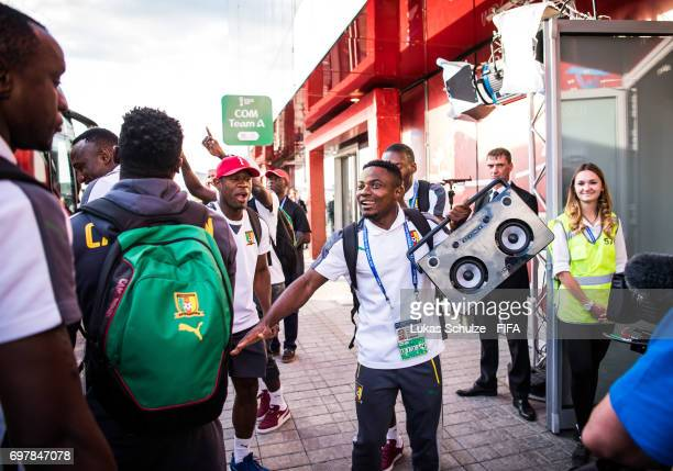 Fai Collins and team mates of Cameroon arrive prior to the FIFA Confederations Cup Russia 2017 Group B match between Cameroon and Chile at Spartak...