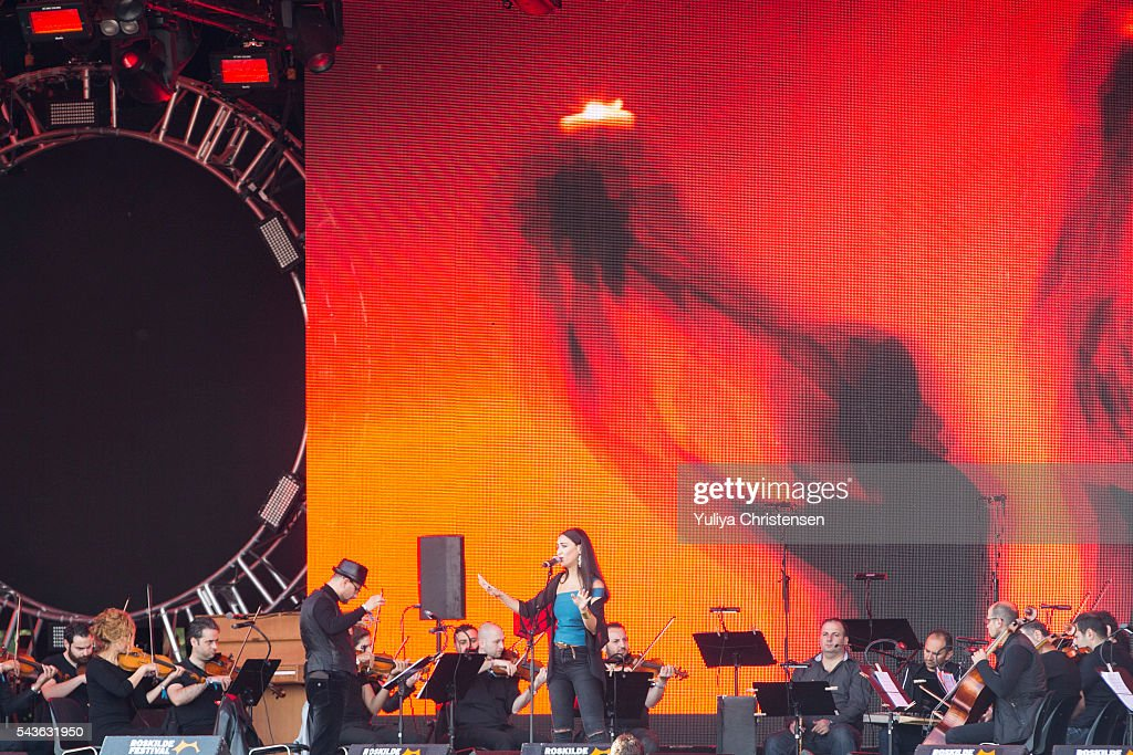Faia Younan and The Orchestra of Syrian Musicians performperforms at Roskilde Festival on June 29, 2016 in Roskilde, Denmark.