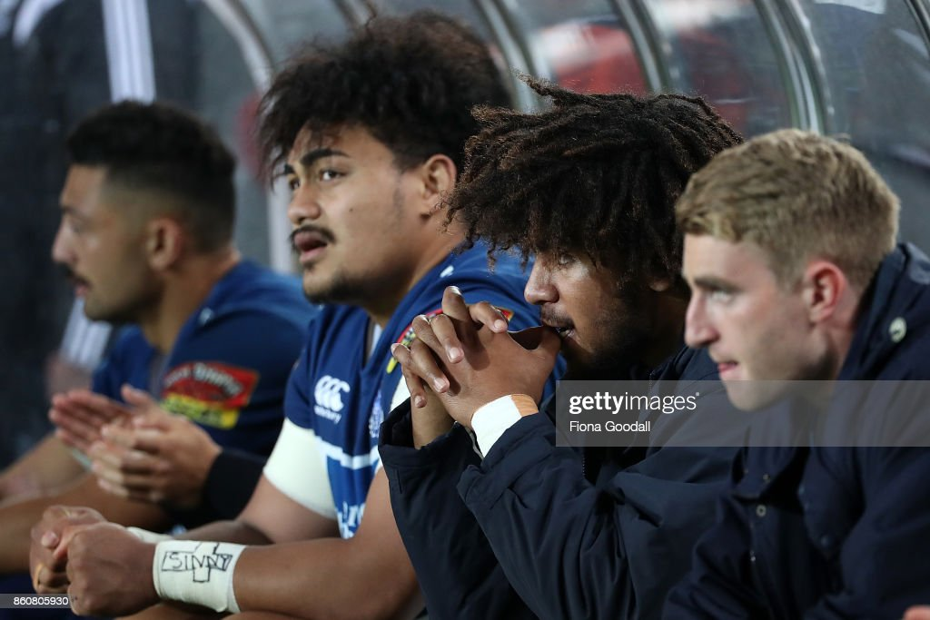 TJ Faiane of Auckland (C) on the bench during the round nine Mitre 10 Cup match between Auckland and Canterbury at Eden Park on October 13, 2017 in Auckland, New Zealand.