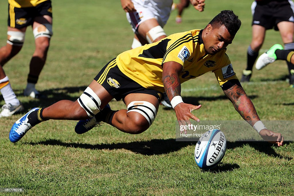 Faifili Levave of the Hurricanes gathers a loose ball during the Super Rugby trial match between the Hurricanes and the Chiefs at Mangatainoka RFC on February 16, 2013 in Mangatainoka, New Zealand.