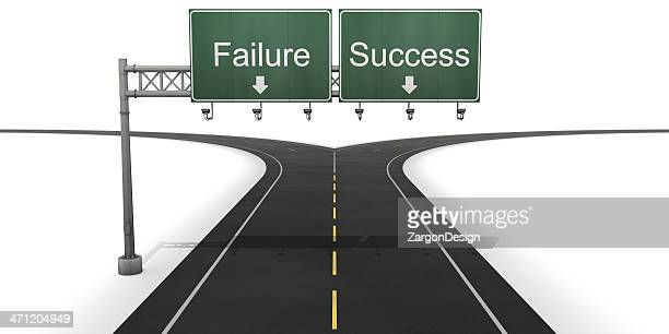 Failure and success fork in the road