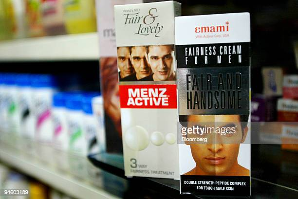 Fair and Lovely Menz Active and Fair and Handsome Fairness Cream for Men are displayed at the Anand General Store in Khan Market in New Delhi India...