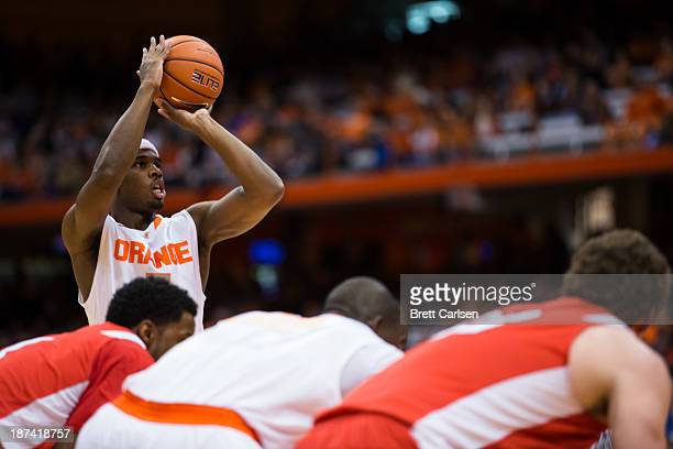J Fair of Syracuse Orange takes a free throw attempt in the first half of a basketball game against Cornell Big Red on November 8 2013 at the Carrier...
