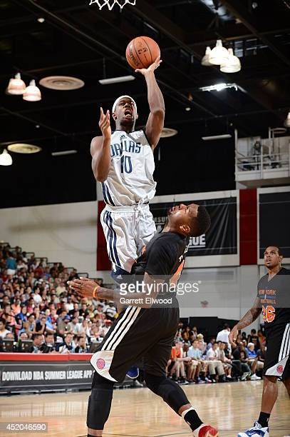 J Fair of the Dallas Mavericks drives to the basket against the New York Knicks at the Samsung NBA Summer League 2014 on July 11 2014 at the Cox...