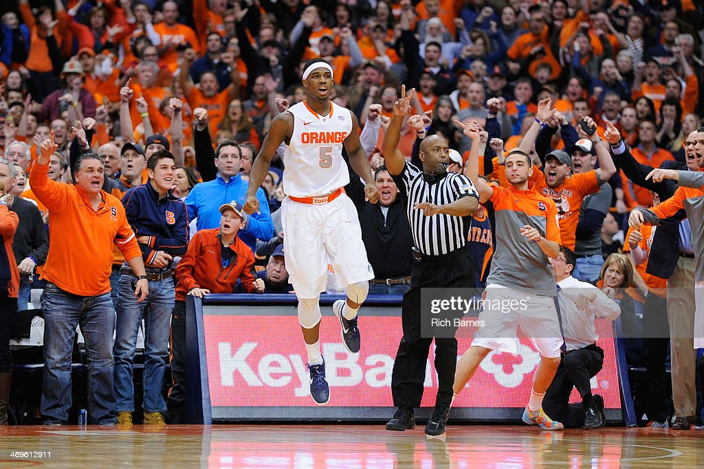C.J. Fair #5 of the Syracuse Orange celebrates his game-winning basket against the North Carolina State Wolfpack during the second half at the Carrier Dome on February 15, 2014 in Syracuse, New York. Syracuse defeated North Carolina State 56-55.