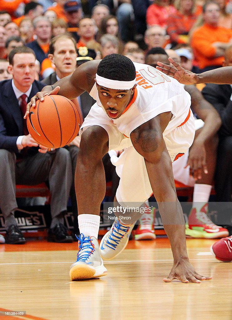 C.J. Fair #5 of the Syracuse Orange dribbles the ball to the basket during the game against the St. John's Red Storm at the Carrier Dome on February 10, 2013 in Syracuse, New York.