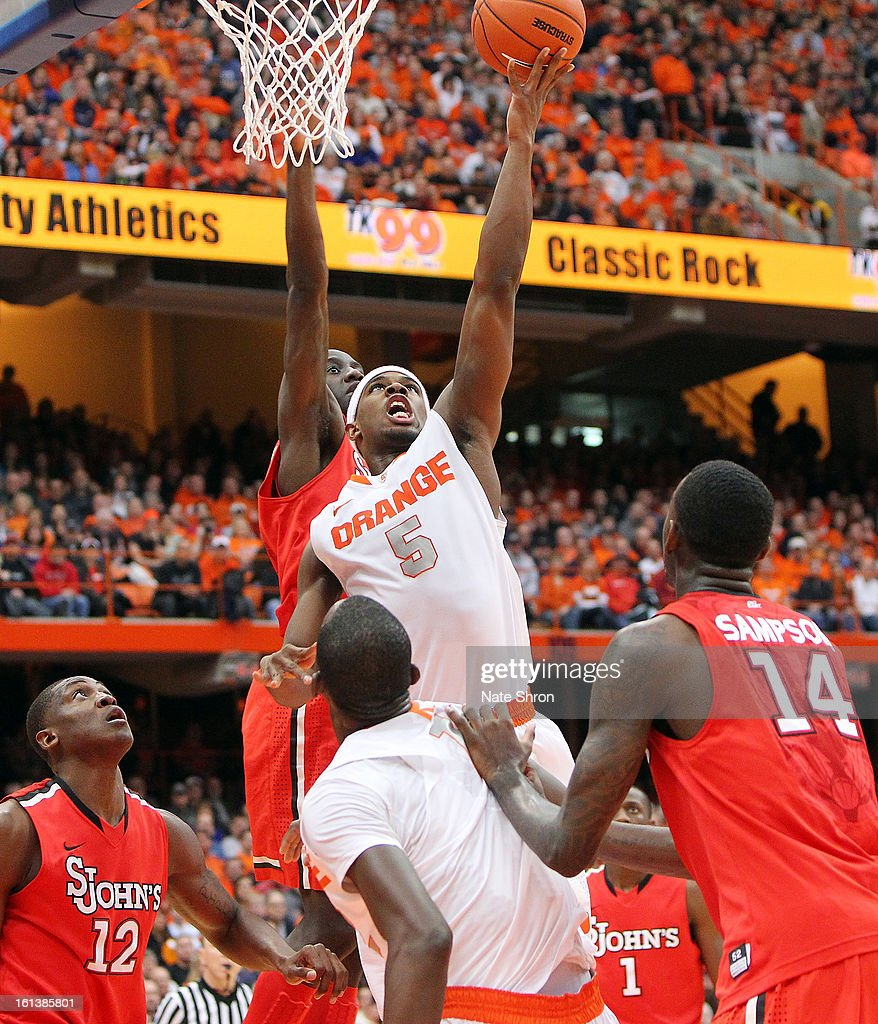 C.J. Fair #5 of the Syracuse Orange puts the ball up to the basket during the game against the St. John's Red Storm at the Carrier Dome on February 10, 2013 in Syracuse, New York.