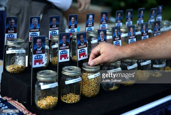 A fairgoer places a vote for republican presidential hopeful Ben Carson during the Iowa State Fair on August 14 2015 in Des Moines Iowa Presidential...