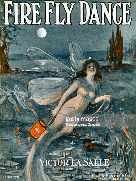 Fairies decorate the Fire Fly Dance sheet music produced circa 1910 in Chicago Illinois