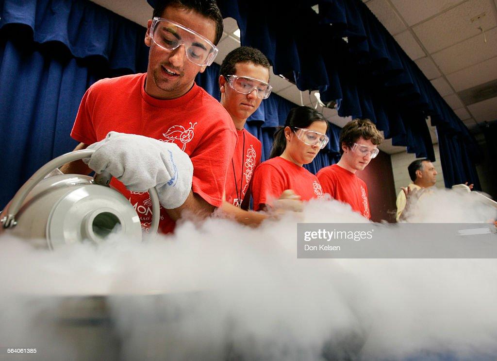 – – Fairmont Private School Edgewood campus summer camp science experiment creating Ice Cream with Liquid Nitrogen Science Department Chairman Dr...