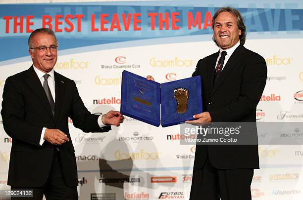 Fairmont Regional Vice President and General Manager Xavier Rugeroni and football legend Rabah Madjer attend the Golden Foot Ceremony Awards on...
