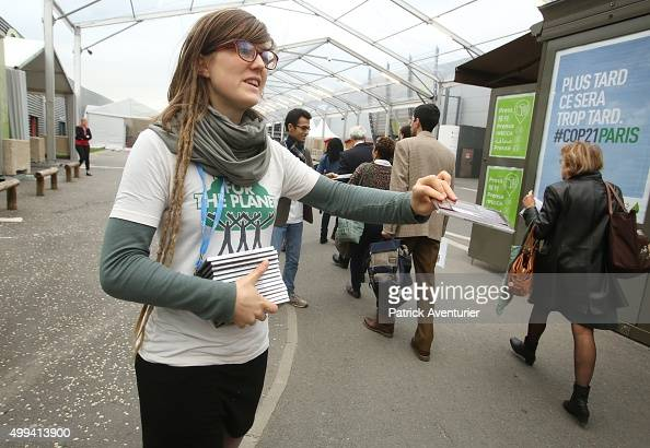 Fairtrade chocolate is distributed as COP21 opens to the public at Le Bourget on December 1 2015 in Paris France The COP21 summit will see...