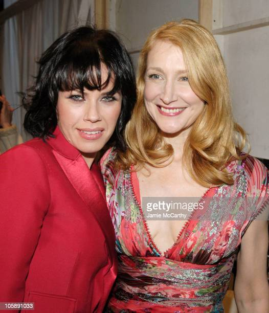 Fairuza Balk and Patricia Clarkson during Olympus Fashion Week Fall 2006 Naeem Khan Backstage at Bryant Park in New York City New York United States