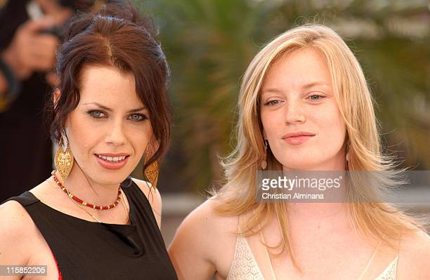 Fairuza Balk and Sarah Polley during 2005 Cannes Film Festival 'Don't Come Knocking' Photocall at Terrasse Riviera in Cannes France