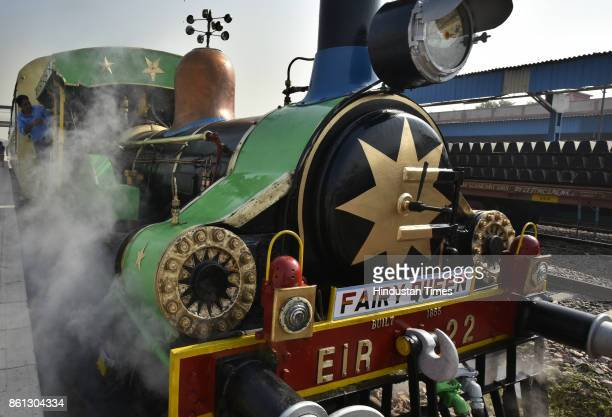 Fairy Queen 'The Steam Express' departs from Delhi Cantonment on October 14 2017 in New Delhi India The 162 year old locomotive will haul a tourist...