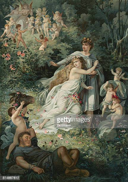 A fairy scene showing a cherub picking up a donkey's head from Shakespeare's A Midsummer Night's Dream Act IV Scene I
