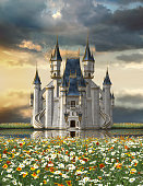 3d render of an enchanting fairy tale castle on a lake surrounded by a sea of blossoming flowers