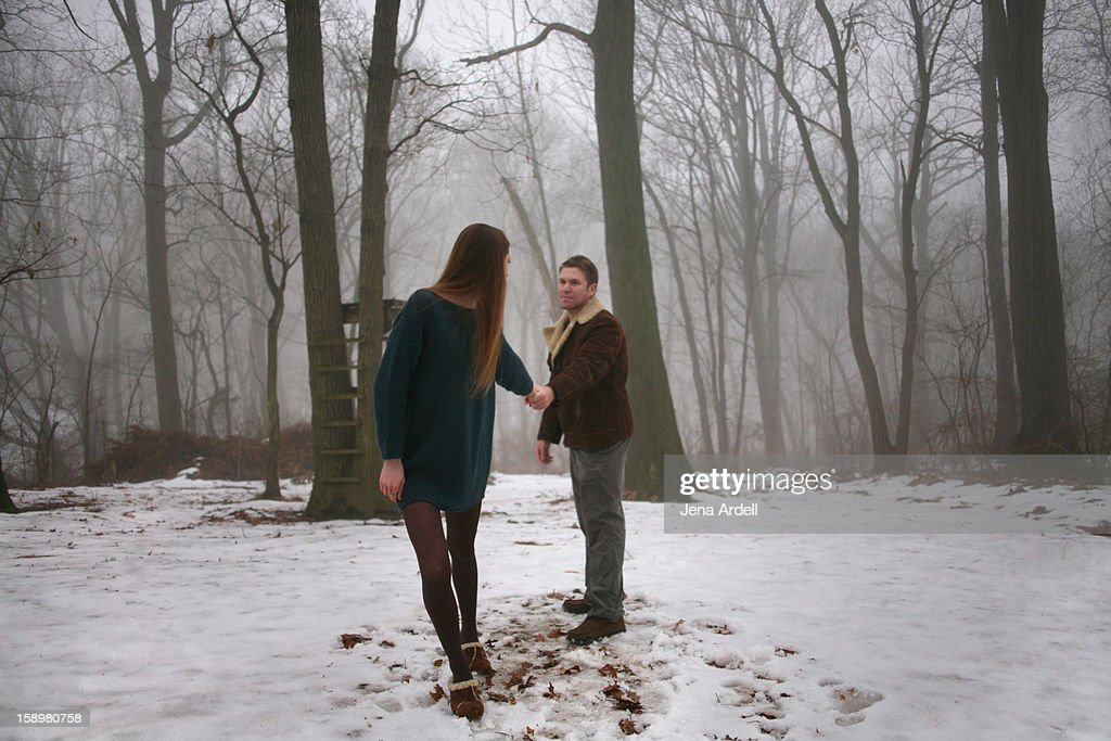 Fairy tale couple: relationship on the rocks : Stock Photo