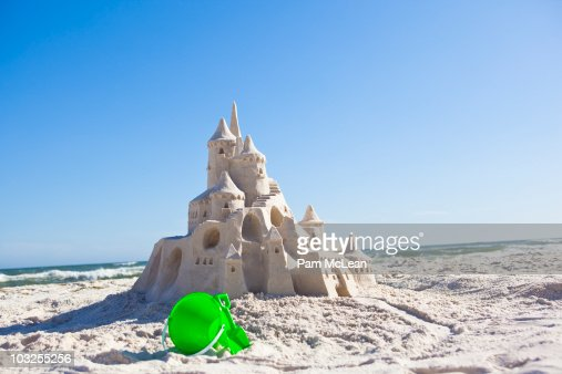 Fairy tale sand castle on the beach