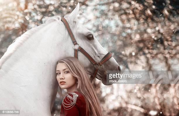 fairy woman near horse